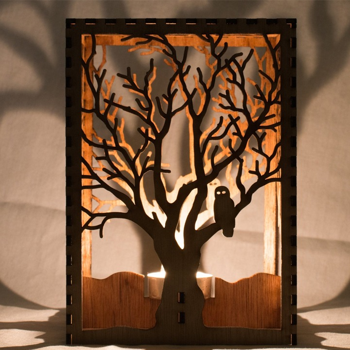 Forest owl Halloween candle luminary