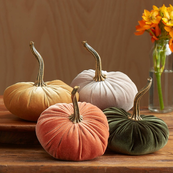 Velvet Pumpkins Set of 4