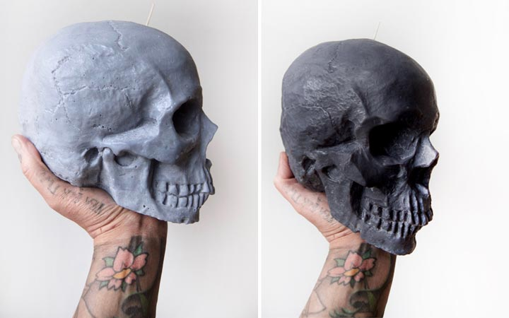 Large soy skull candles