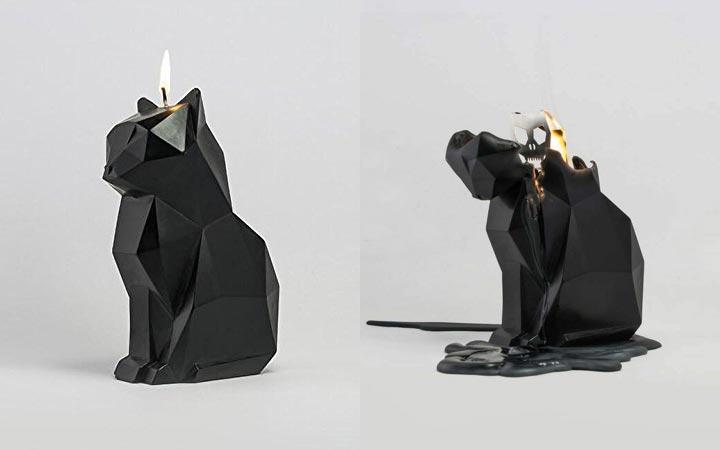 Pyro pet black cat skeleton candle