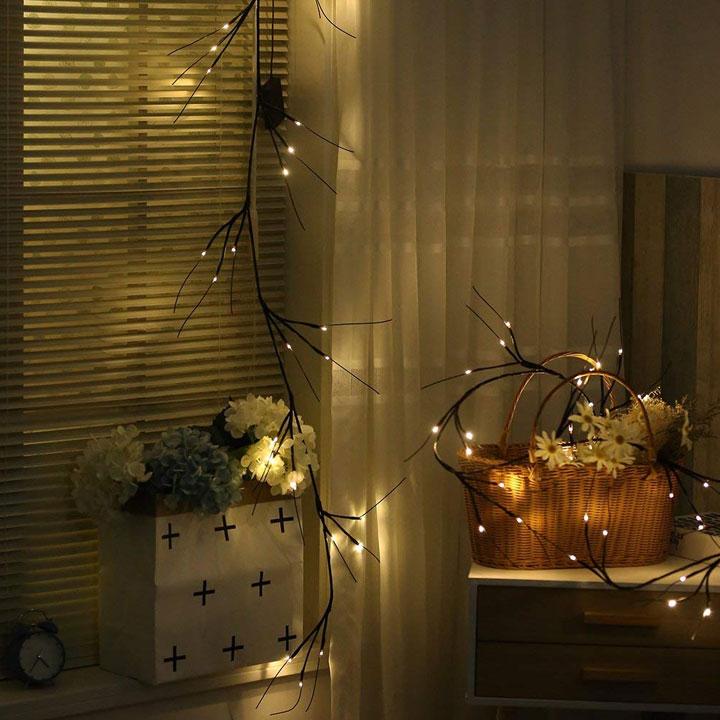 Twig lights Halloween garland