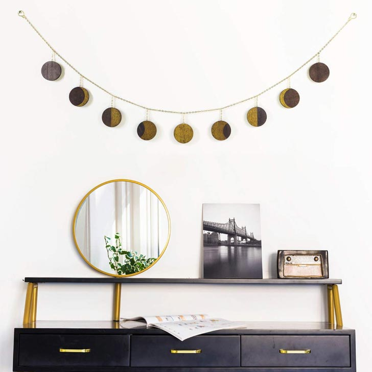 Moon phases wooden Halloween garland