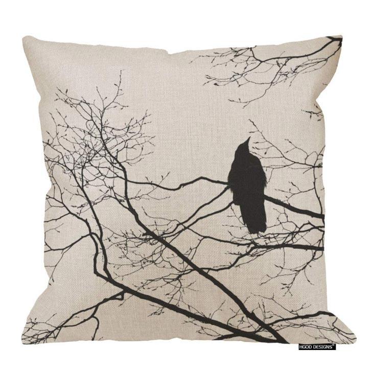 Burlap pillow case with a raven print