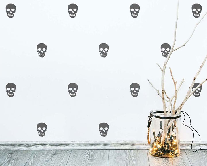 Black skull wall decals