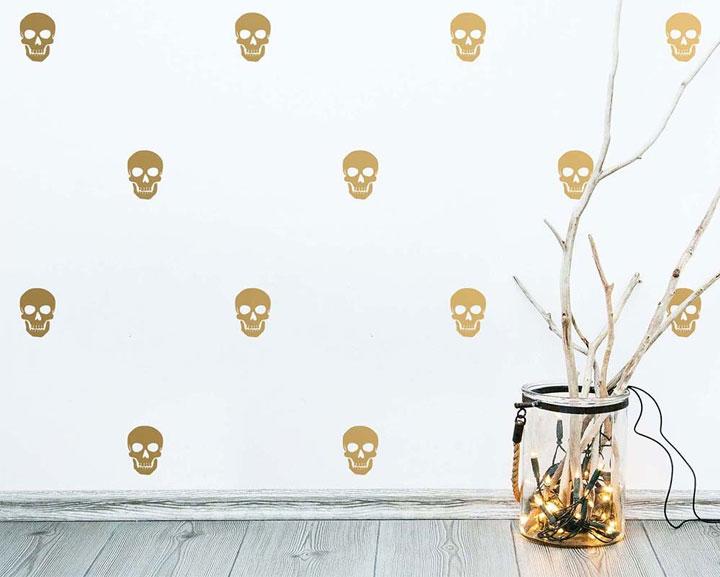 Godlen skulls wall decals