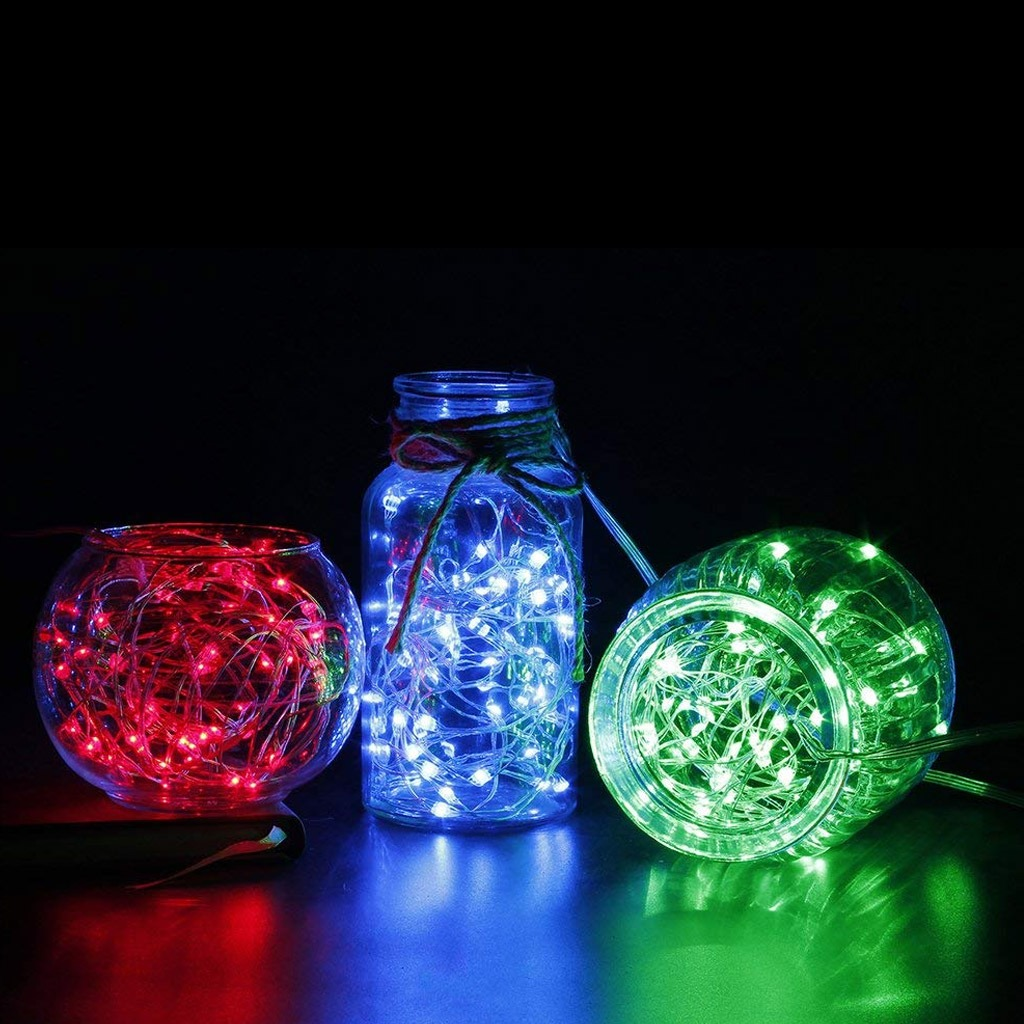 String lights in glass containers