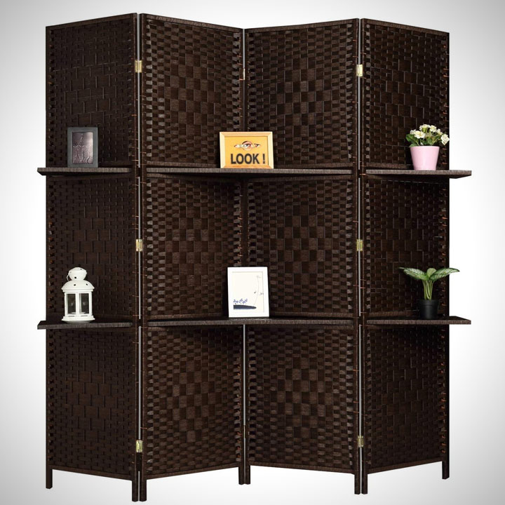 screen privacy room divider with shelves