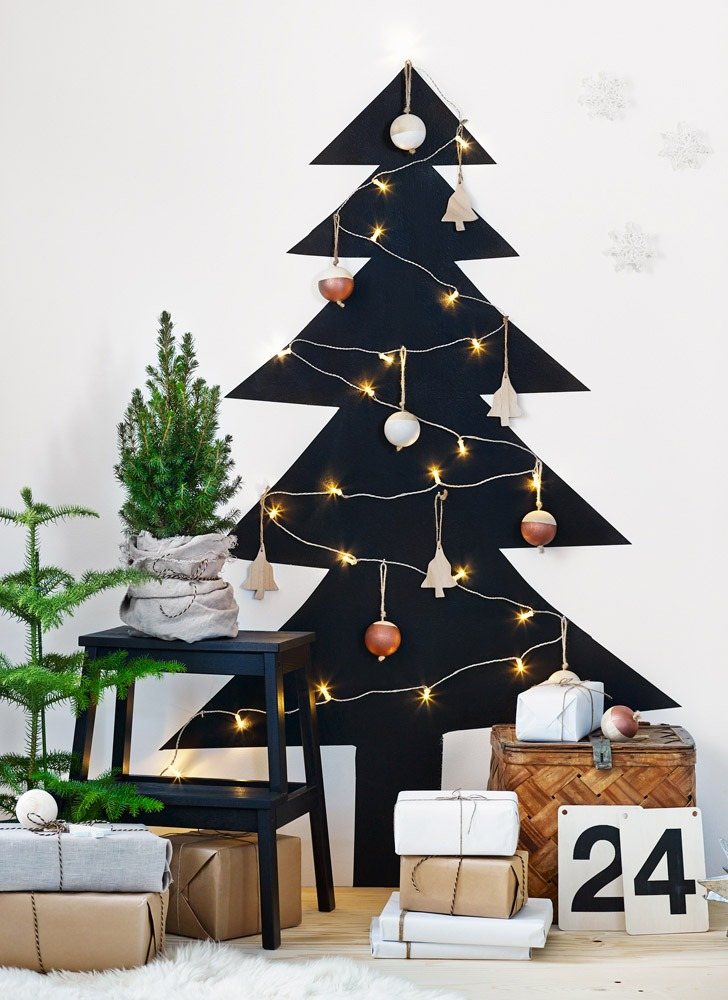 Ikea painted wall christmas tree