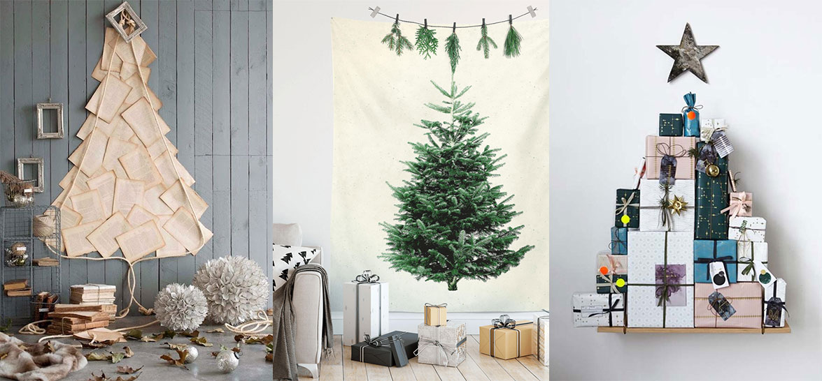 18 ALTERNATIVE CHRISTMAS TREE WALL IDEAS Let's go vertical this holiday season and put a Christmas tree on a wall.