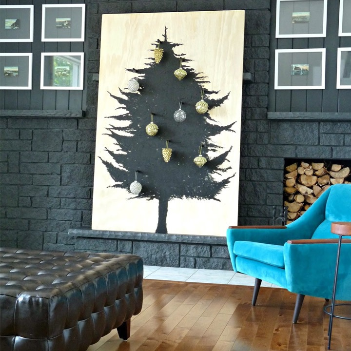 Christmas tree alternative diy scandinavian plywood wall art