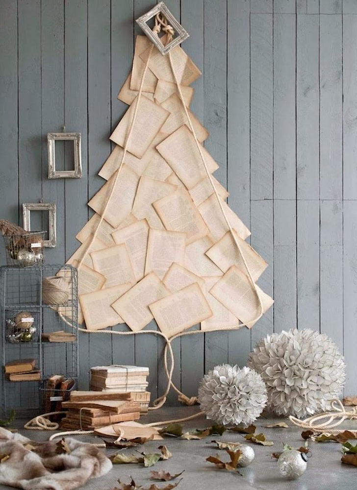 christmas tree alternative vintage pages wall art