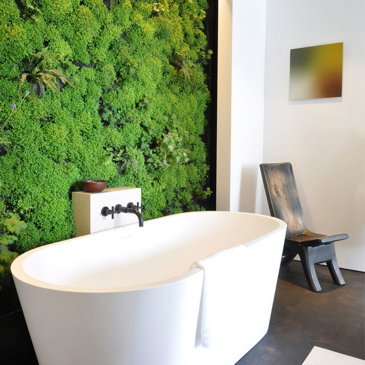 biophilia trend planter greenery bathroom wall