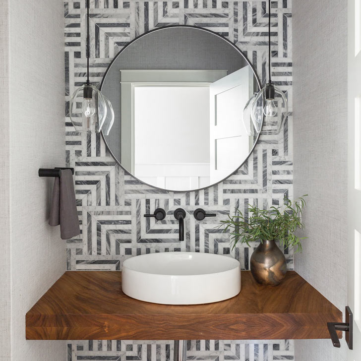 bold geometric pattern tiles interior design trend 2019