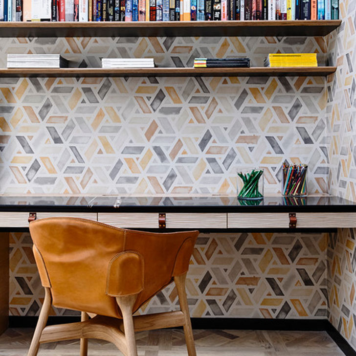 bold geometric pattern wallpaper interior design trend 2019