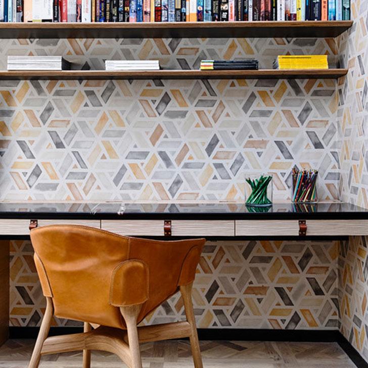 bold geometric pattern wallpaper interior design trend 2019
