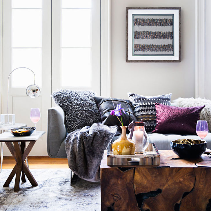comfortable mix of colors and textile textures