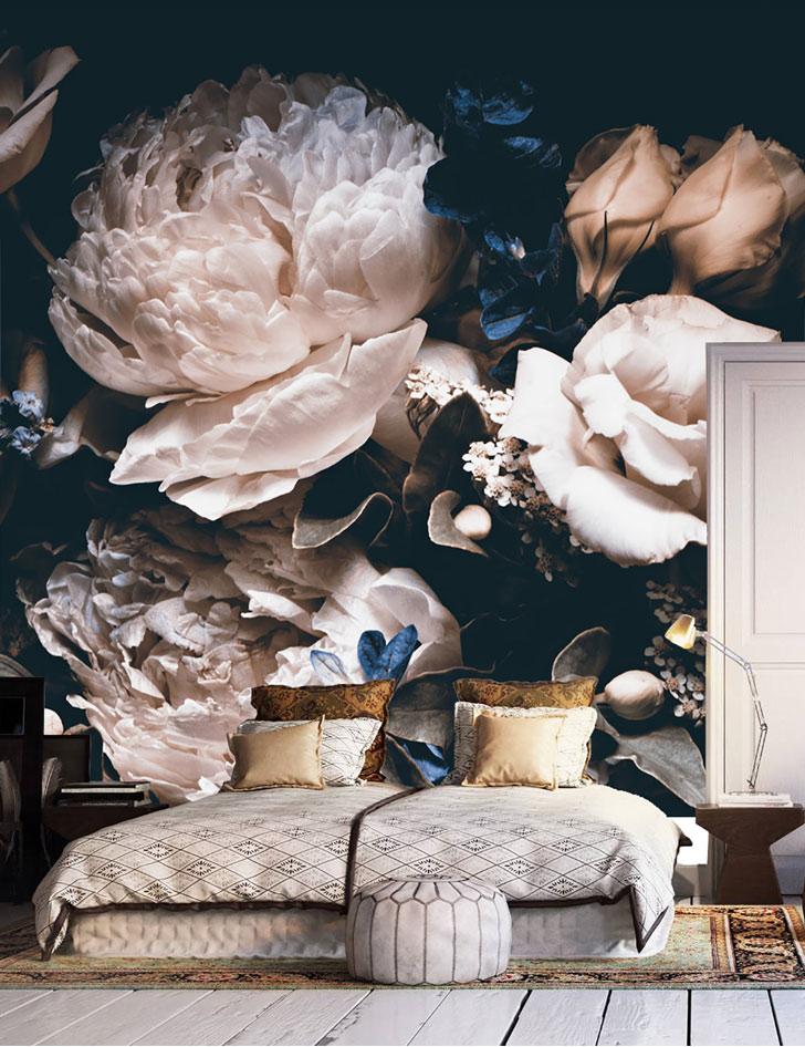 large floral peonies pattern wallpaper