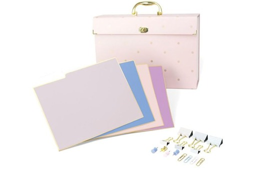 Pink Desk File Organizer Kit