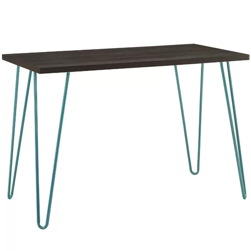 Folkston Rectangular Teal Espresso Writing Desk