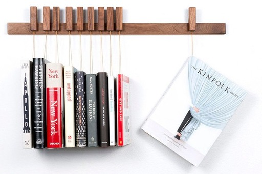 Hanging books custom bookshelf