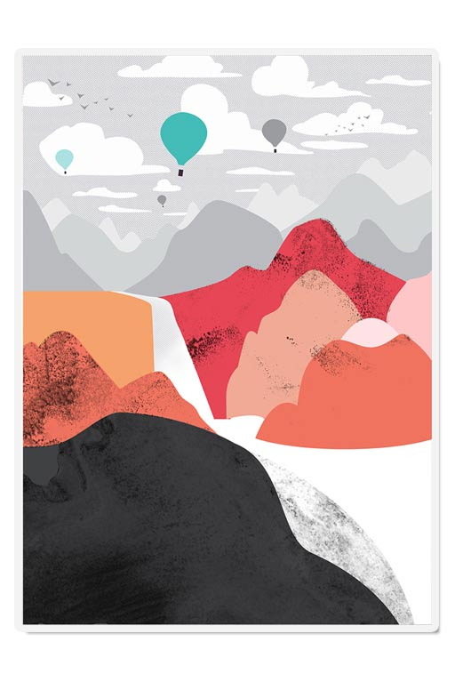 Hot Air Balloons Red Mountain Scandinavian Modern Art Print