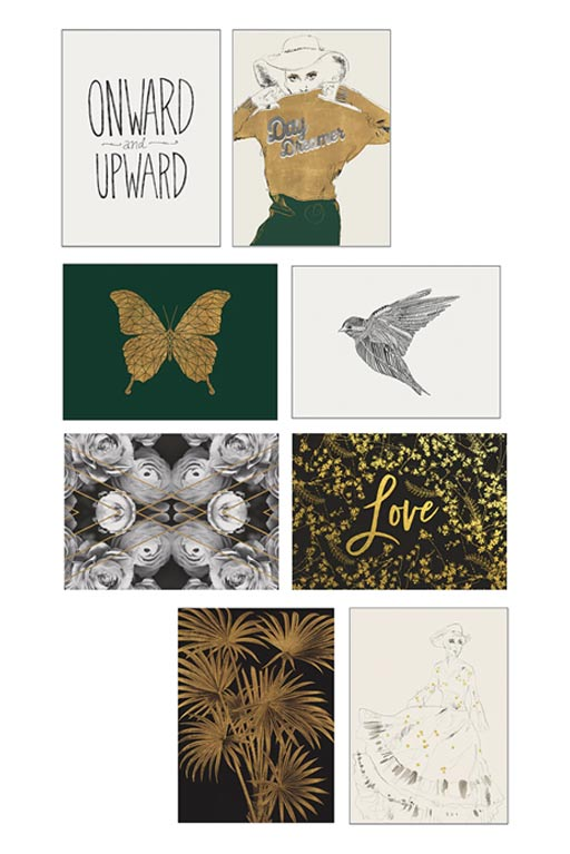 IKEA VAXBO Green Gold and Black Art Cards