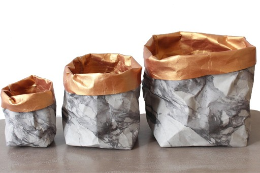 Marble and Gold Washable Paper Storage Basket