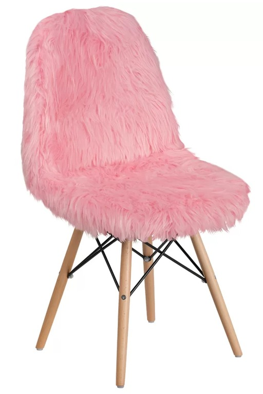 Korman Pink Fluffy Fur Office Side Chair