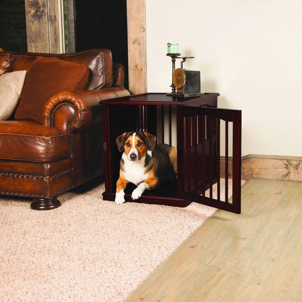 pet crate end table for dog in an apartment