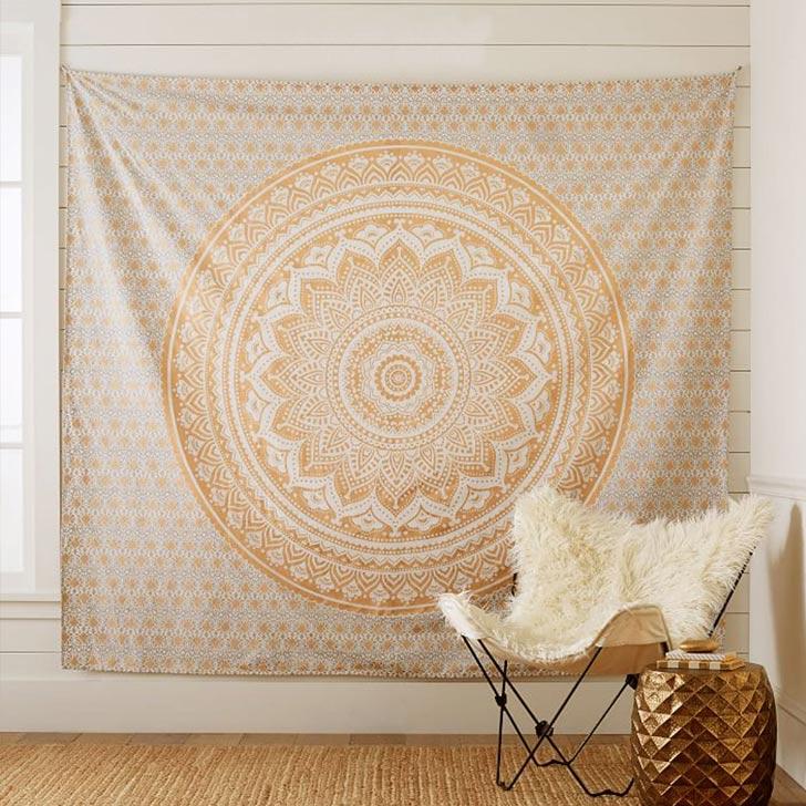 bohemian mandala tapestry accent wall
