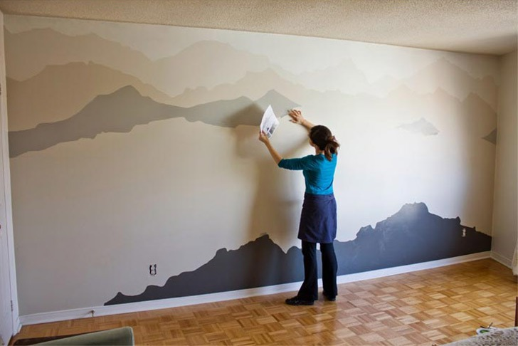 Mountain Mural diy accent wall