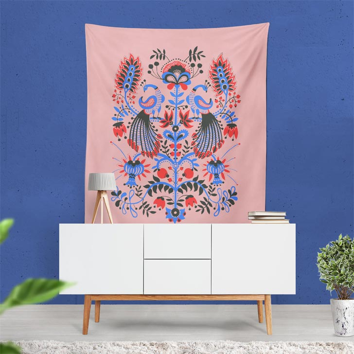 Peacock Tapestry accent wall