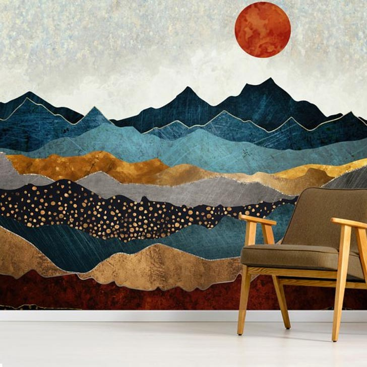 amber dusk scenery mural wallpaper accent wall