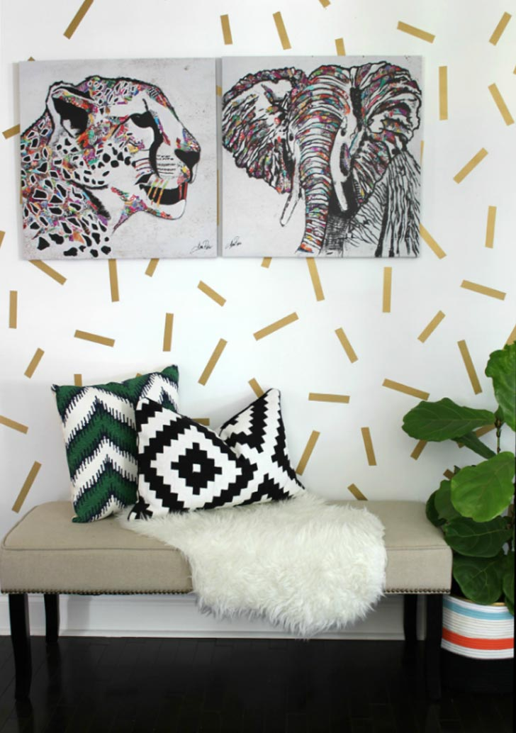 confetti tape diy accent wall