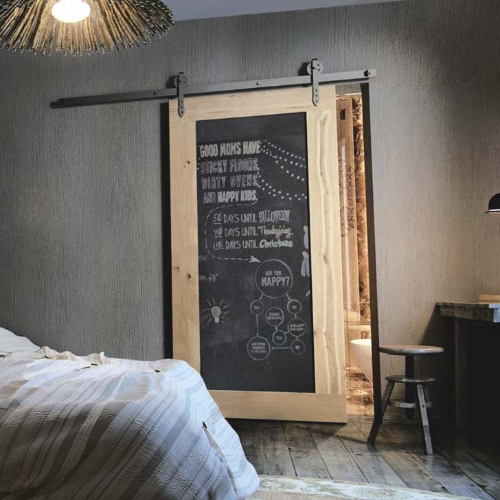 sliding chalckboard barn door accent