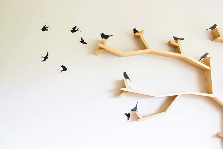 bird decals for tree bookshelf accent furniture