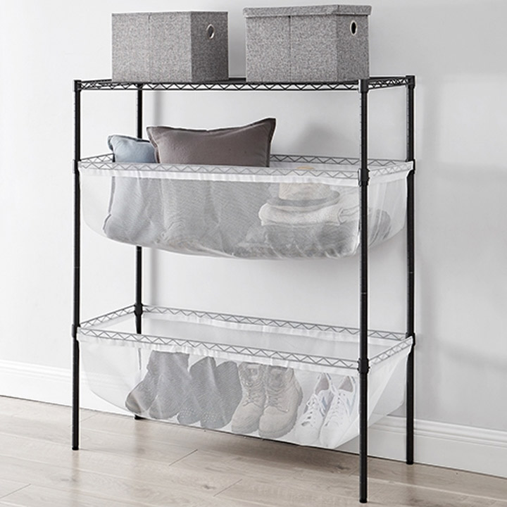 bin style mesh dorm room storage shelves