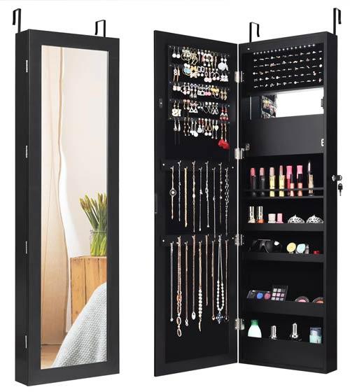 mirror jewelry door storage