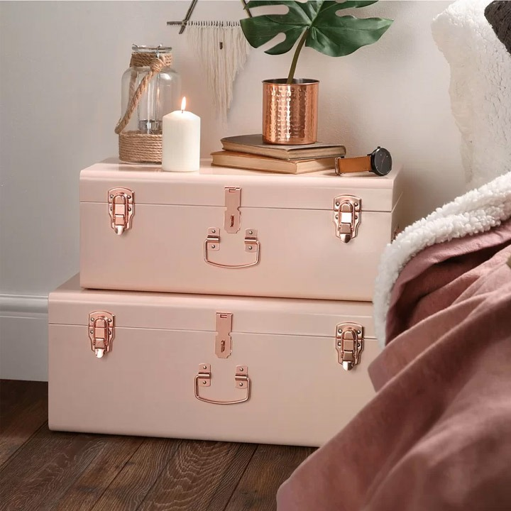 two piece dorm room storage turnks rose gold