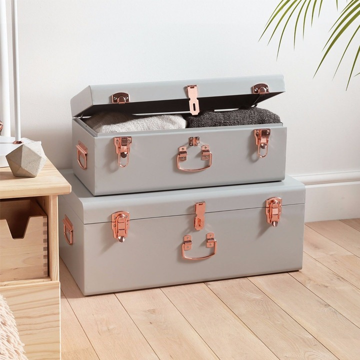 two piece dorm room storage trunk gray and rose gold