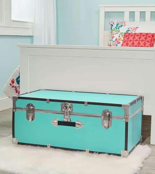 teal storage trunk chest