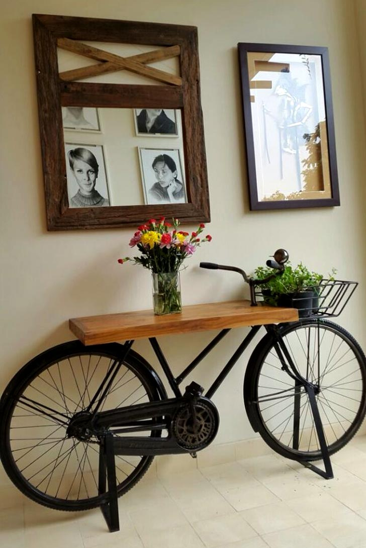 bicycle coffee table entryway