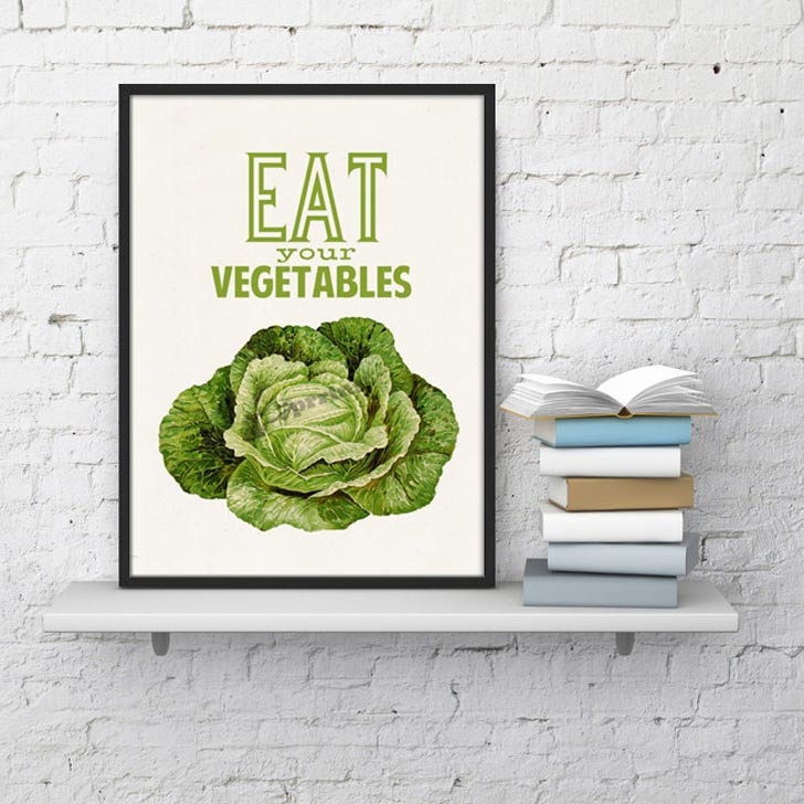 eat your vegetables kitchen wall art