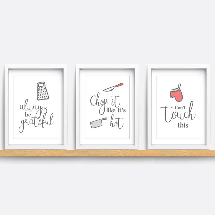 funny kitchen wall art set puns