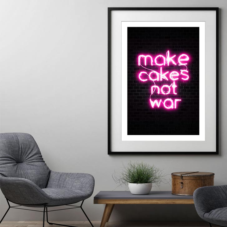 make cakes not war funny kitchen quote wall art
