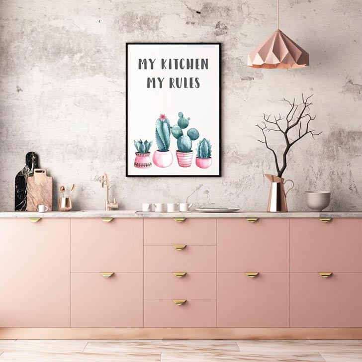 my kitchen my rules funny modern kitchen wall art