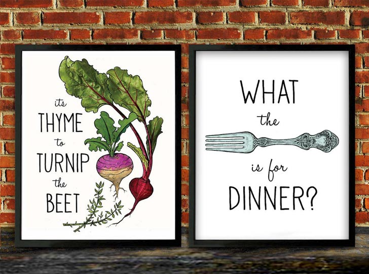pun funny kitchen wall art