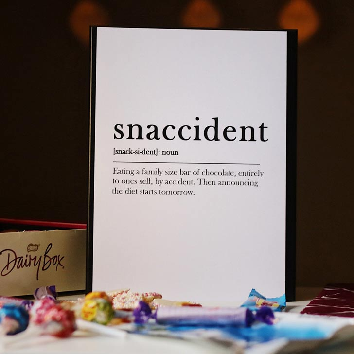 snaccident definition funny kitchen quote wall art