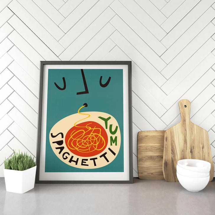 spaghetti mid century retro kitchen wall art