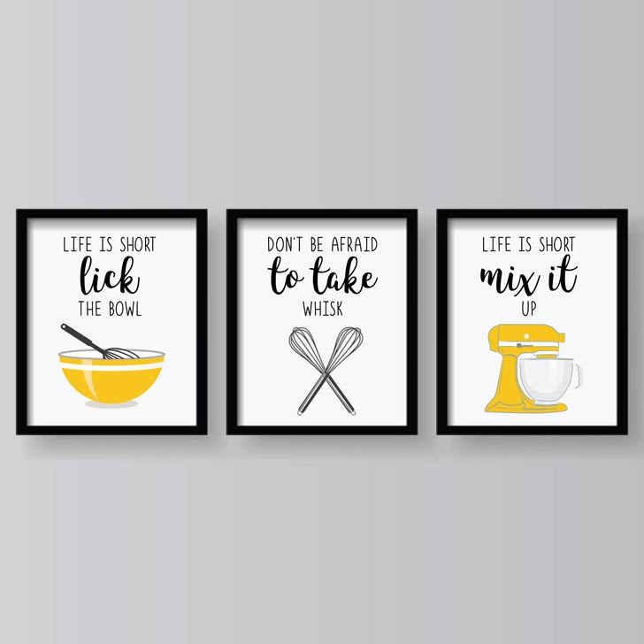 yellow motivational funny kitchen sayings wall art